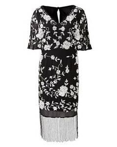 Joanna-Hope-Women-039-s-Black-Beaded-Kimono-Midi-Dress-Size-UK-18-New-With-Tags