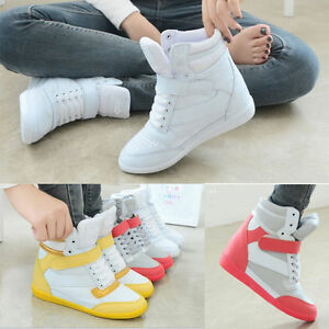 New-Chic-Women-Lace-Up-Athletic-Sneakers-Casual-Shoes-Wedge-Heel-High-Top-Boots
