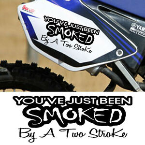 SMOKED TWO  STROKE DECAL VINYL STICKER MOTOCROSS MX BIKE KTM - Bike vinyl stickers