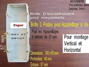 LEGRAND-Mosaic-3-Triple-Boite-d-039-encastrement-Inter-et-prise-Parpaing-ou-Beton