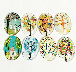 Bulk 60 Glass cabochon with print 18x25mm, flat oval tree of life cabochon