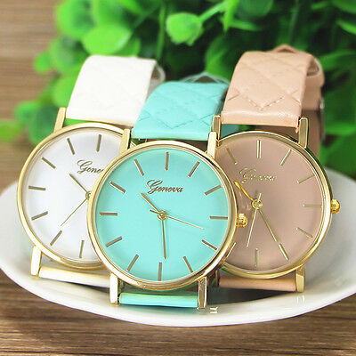 Women Classic Casual Roman Faux Leather Band Analog Quartz Wrist Watch  Fashion