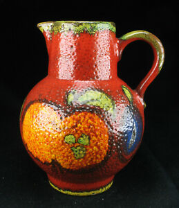 Scheurich-Keramik-418-20-Krug-Obstdekor-wgp-mid-century-pottery-ceramic-jug