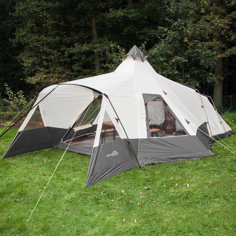 Skandika Navaho 5 Person Man Tipi Teepee Tent Sewn-in Groundsheet Mesh Grey New