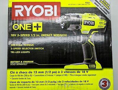 "1//2/"" 3 Speed Impact Wrench 18V Li-Ion Brand New Bare Tool RYOBI P261 One"