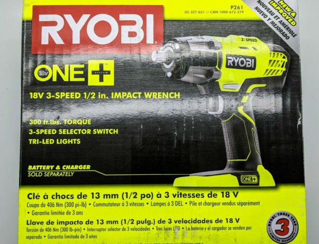 3-Speed Impact Wrench P261 Ryobi 18V ONE 1//2 in. Tool-Only