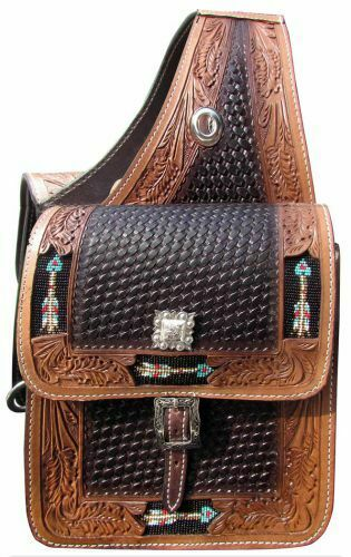 Showman BEADED ARROW Inlays Basket Weave & Leaf Tooled Leather SADDLE BAG
