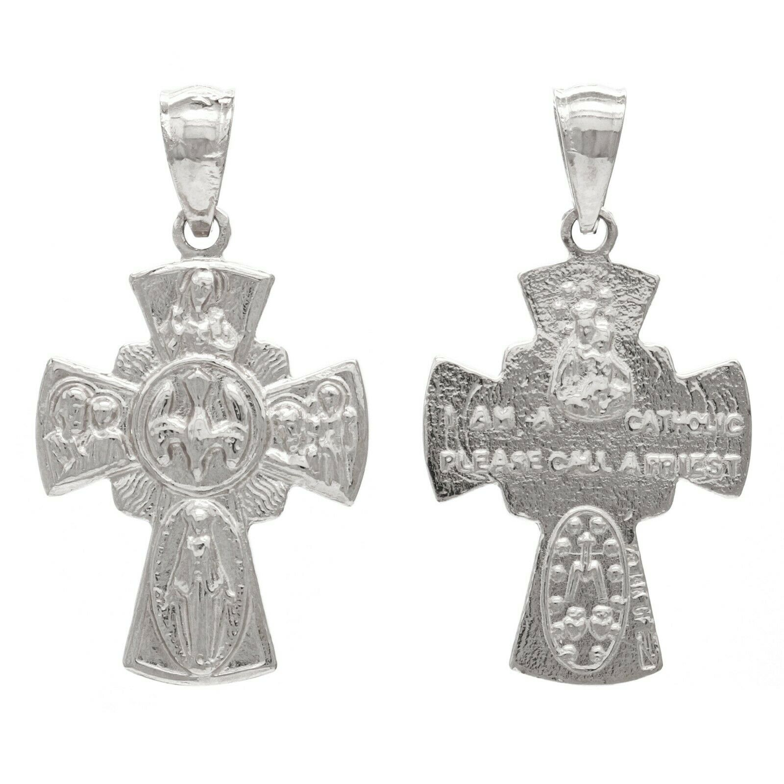 925 Sterling Silver Holy Spirit 4-Way Cross Medal Pendant Necklace