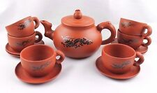 Terra Cotta Dragon Tea Set, NIB, Teapot + Six Cups & Saucers, Made in China