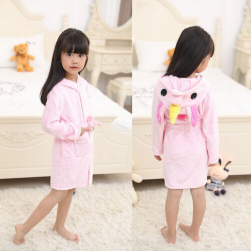 Kids Unicorn Bathrobe Sleepwear Boys Girls Pajamas Soft Fleece Bath Robe Toddler