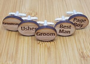 Wooden Wedding Cufflinks Groom, Best Man, Usher, Page Boy Cuff link ...