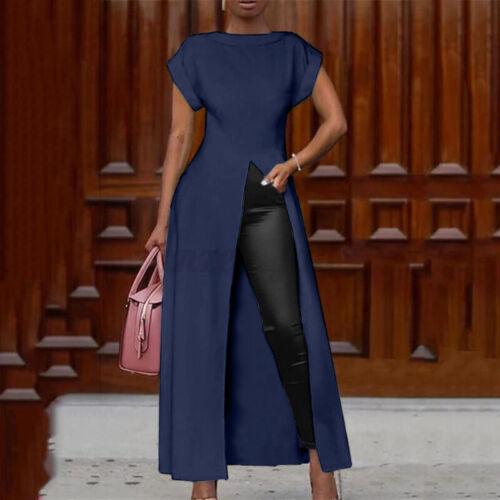 Damen Sommer Floral Leopard Kurzarm High Split Tops Abendkleid Maxi Kleid Plus