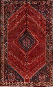 Vintage Tribal Abadeh Geometric Oriental Area Rug Wool Hand-Knotted 6x9 Carpet