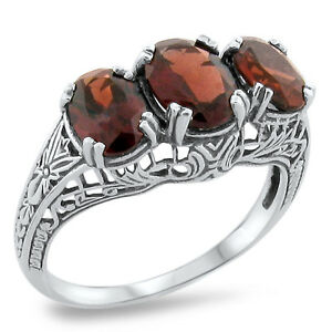Genuine Garnet 3 Stone Antique Style .925 Sterling Silver Ring Size 5.75 KN-4121