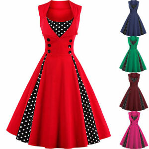 Vintage-Polka-Dot-50-039-s-ROCKABILLY-Swing-Pin-Up-Housewife-Retro-Dress-Plus-Sized