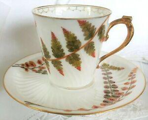 Antique Limoges Demitasse Tea Cup Saucer Elite Works Fern Leaves Hand Painted