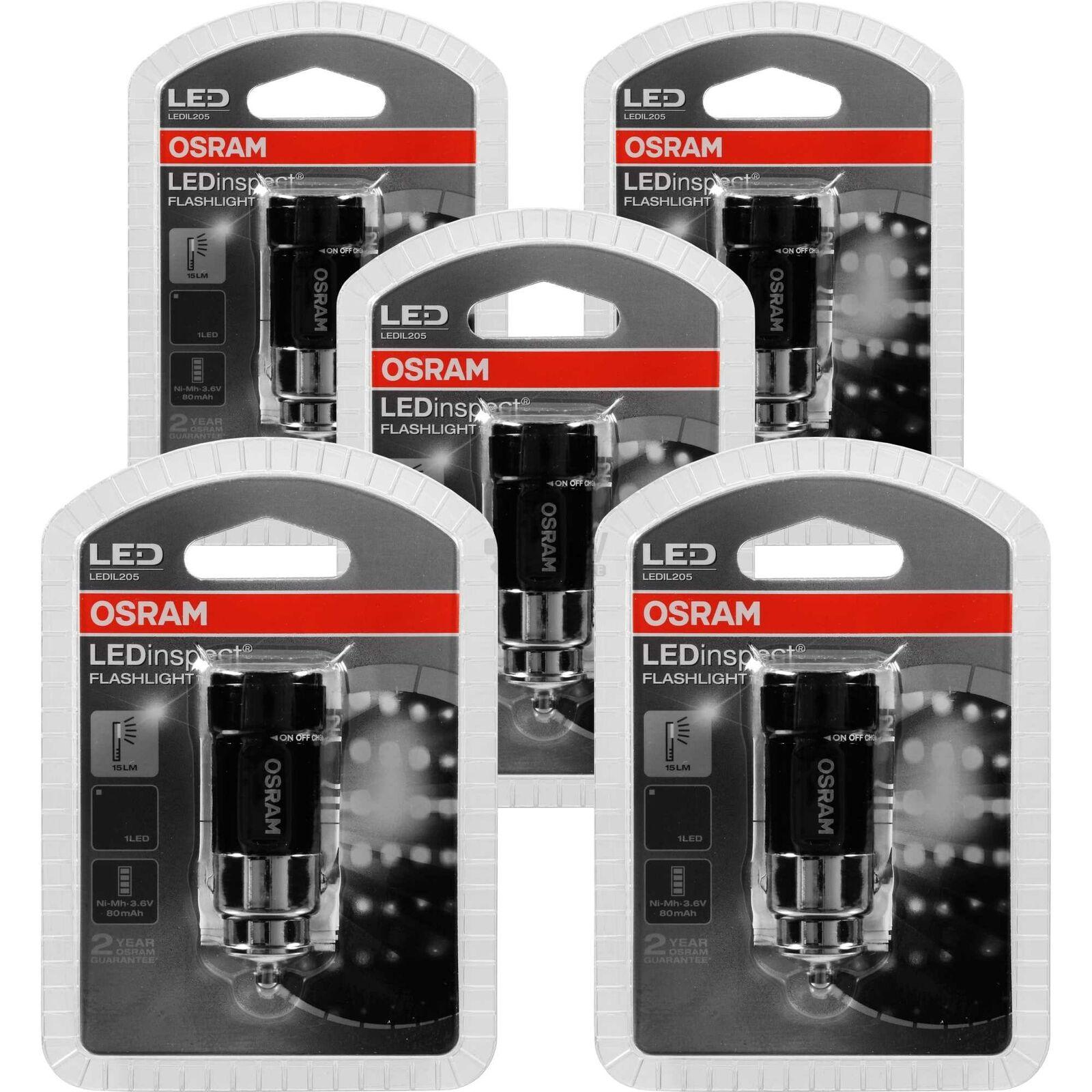 5x Osram DEL Batterie Travail Lampe LEDinspect Flashlight 15 pour allume-cigare