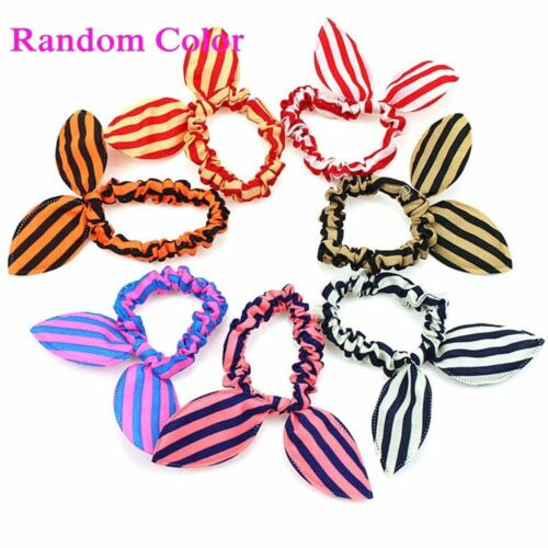10Pcs Women Girl Rabbit Ear Scrunchie Hair Band Rope Elastic Tie Ponytail Holder