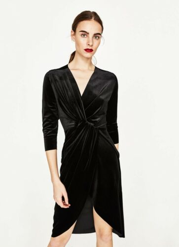 Crossover 8 Size S Uk Dress Zara Black Velvet 6E0qwx1AWg