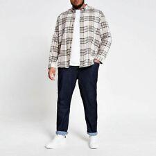 River Island Mens Ecru Check Long Sleeve Big And Tall Shirt