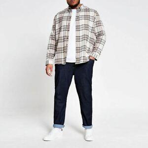 River-Island-Mens-Ecru-Check-Long-Sleeve-Big-And-Tall-Shirt