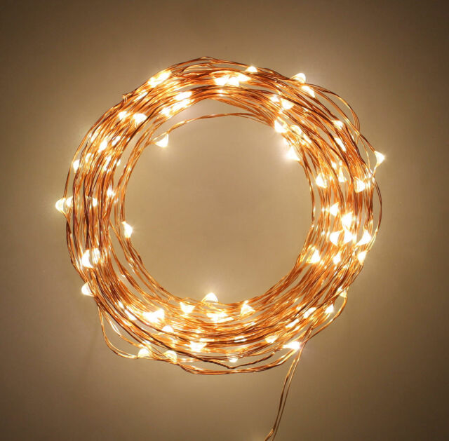 Indoor String Fairy Rice Lights, Dimmable LED String Lights Christmas 33 feet