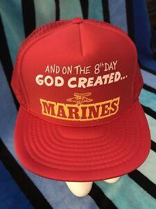 NOS-Vtg-ON-THE-8TH-DAY-GOD-CREATED-MARINES-Novelty-Trucker-Mesh-Snapback-Hat-cap