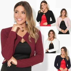 Donna-Maglia-Bolero-Coprispalle-Giacca-Top-Corto-Apri-Cardigan-Scialle-Moda-Work