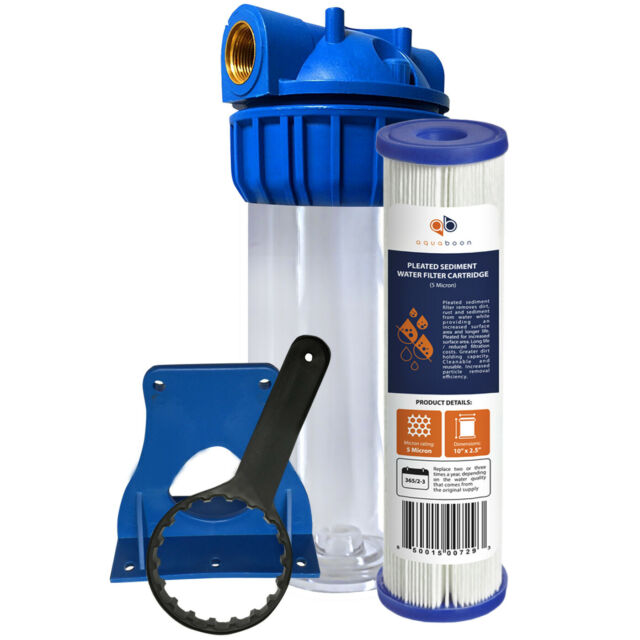 """Aquaboon 10"""" Water Filtration System, Includes Pleated Sediment Filter"""