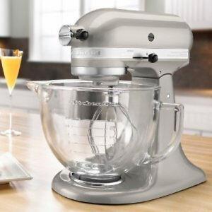 Kitchenaid Silver Tilt Artisan Stand Mixer 5 Qt Glass Bowl