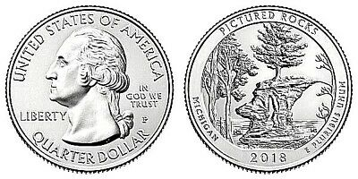 UNCIRCULATED 2018-D PICTURED ROCKS ATB NATIONAL PARK QUARTER SINGLE