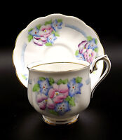 Royal Albert 1933 Crown China Cup Saucer Poppies Blue Flowers Hand Painted