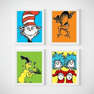 Dr Seuss Nursery Decor, Kids Bedroom Wall Prints | EBay