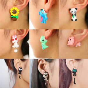 Lovely-Women-Girl-3D-Cartoon-Animal-Fox-Cat-Polymer-Clay-Ear-Stud-Earrings