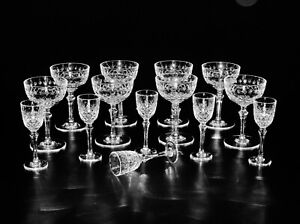 Set-of-Six-Port-Wine-amp-Set-of-Eight-Champagne-Tall-Sherbet-Glass-By-Bayel