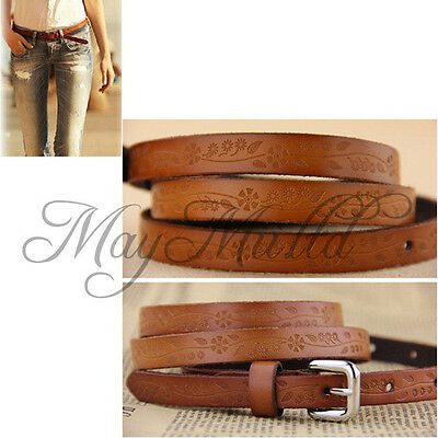 Stylish Lady Girl Thin Leather Floral Carving Waist Buckle Belt Brown Color  J