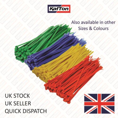 Nylon Cable Ties 100mm x 2.5mm Yellow Zip ties Zip tie Wraps Pack of 100