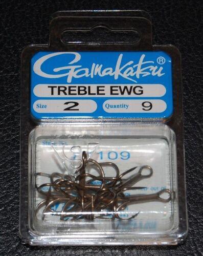 Bronze Treble Hooks 9 Pack Gamakatsu 77109 Extra Wide Gap Size 2 EWG