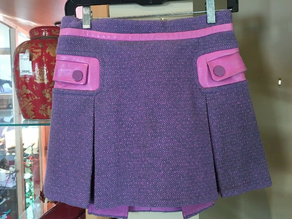 Marc Jacobs Pink & Lavender Leather & Wool Pleated Mini Skirt Size 6