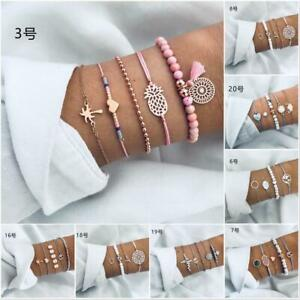 Fashion-Set-Rope-Natural-Stone-Crystal-Chain-Alloy-Bracelets-Gift-Women-Jewelry