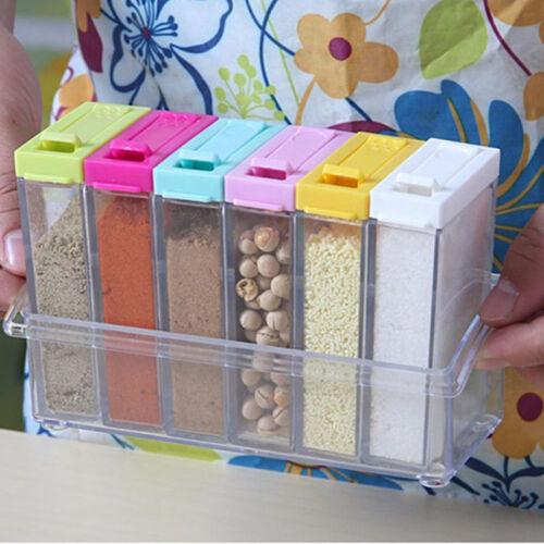 6ps//Set Seasoning Bottle Box Jar Condiment Storage Container Rack Herb Spice Jar