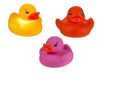 3x Bath time Tub Toy Flashing Rubber Duck LED Coloured Light Up Watertight Ducks