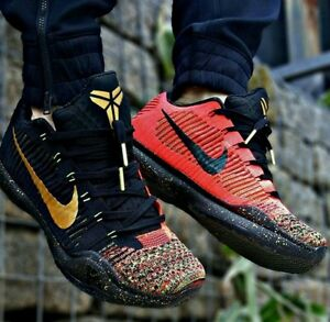 NIKE KOBE X 10 ELITE LOW XMAS Christmas Sz 10.5 Black Gold NEW IN ... 0a33d5ab4266