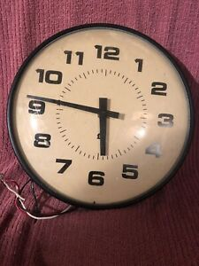 "Nice Vintage 14"" Simplex School Clock Complete/parts Untested"