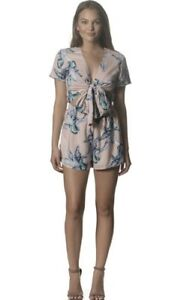 e5eaaf02a0 Image is loading Tropical-print-Festival-Ibiza-Style-tie-front-Playsuit-