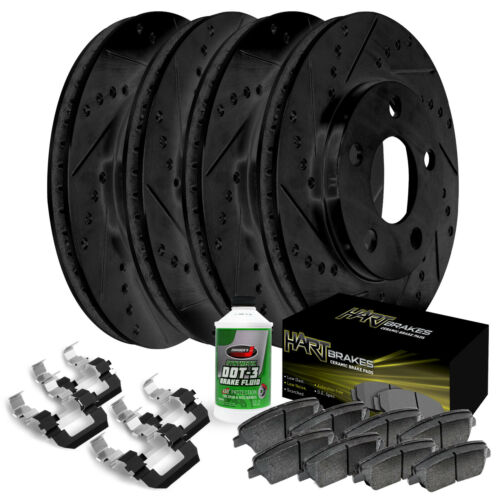 Fit 2011-2014 Ford Mustang Black Hart Full Kit  Brake Rotors+Ceramic Brake Pads