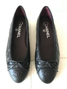 eaf47cde775 2018 CHANEL BLACK LEATHER QUILTED CAP TOE BALLET BALLERINA FLAT ...