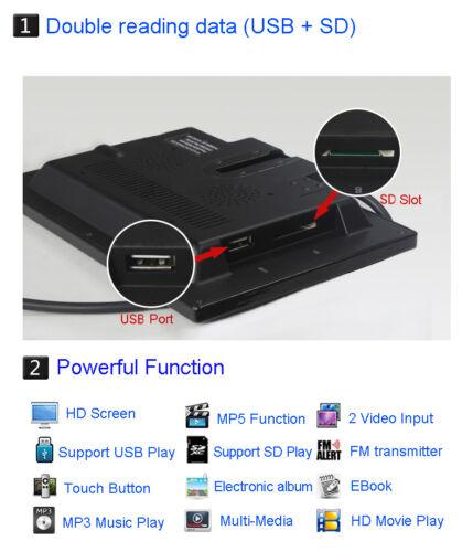 7/'/' TFT LCD Ultra Thin HD Car Rear View Monitor with MP5 USB SD 2 Video Input