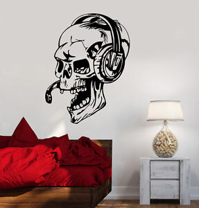 Charming Image Is Loading Vinyl Decal Gamer Skull Headphones Gaming Video Games