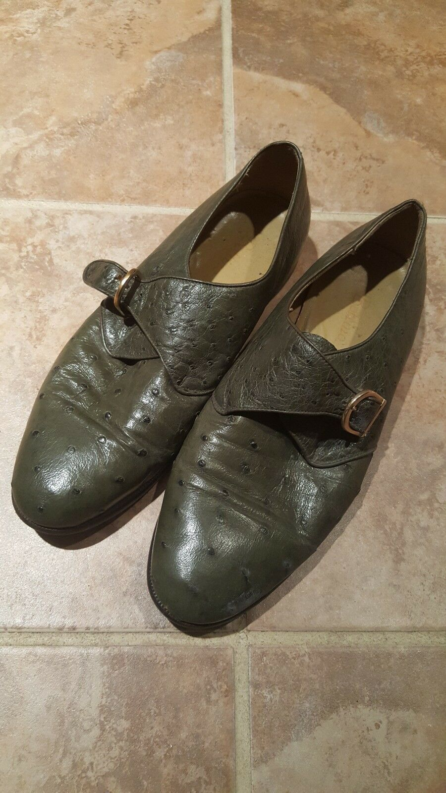 Men BOTTINO Vintage Genuine OSTRICH SKIN LOAFERS SIZE 9 M